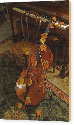 Cello Autumn 1 Wood Print by Mick Anderson