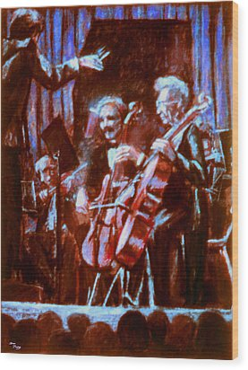 Cello_concerto_sketch Wood Print by Dan Terry