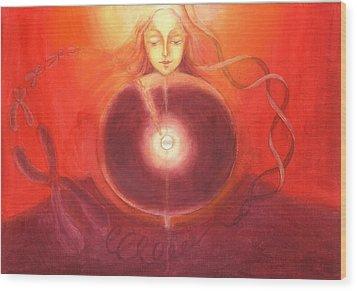 Cellular Yoga Wood Print by Shiva Vangara