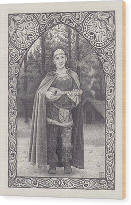 Celtic Bard Wood Print by Tania Crossingham