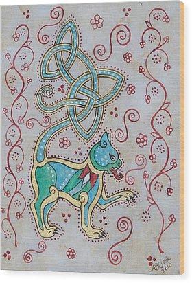 Celtic Cattus Wood Print by Beth Clark-McDonal