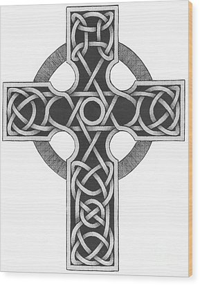 Celtic Cross Wood Print by Chris Tetreault
