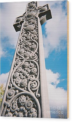 Art Nouveau Celtic Cross I Wood Print by Peter Gumaer Ogden