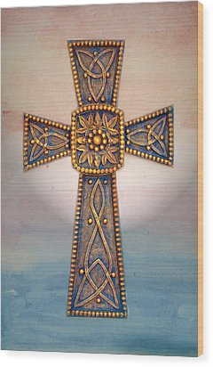Celtic Cross Sunrise Wood Print by Sandi OReilly