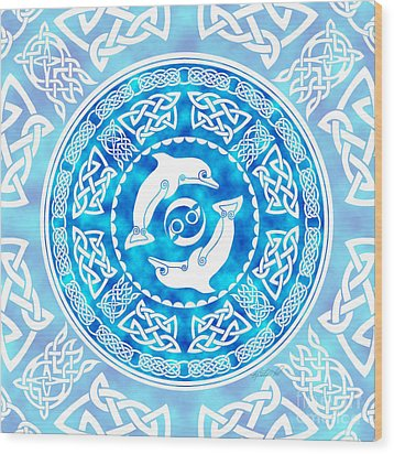 Wood Print featuring the mixed media Celtic Dolphins by Kristen Fox