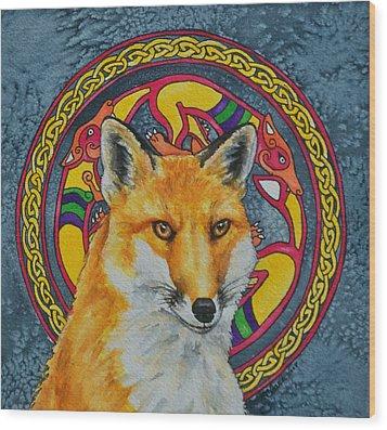 Celtic Fox Wood Print by Beth Clark-McDonal
