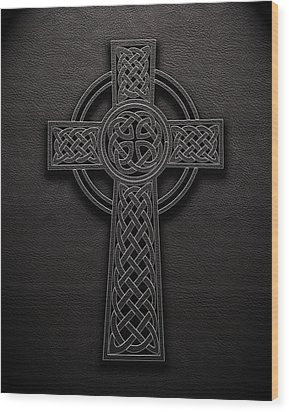 Wood Print featuring the digital art Celtic Knotwork Cross 1 Black Leather Texture by Brian Carson