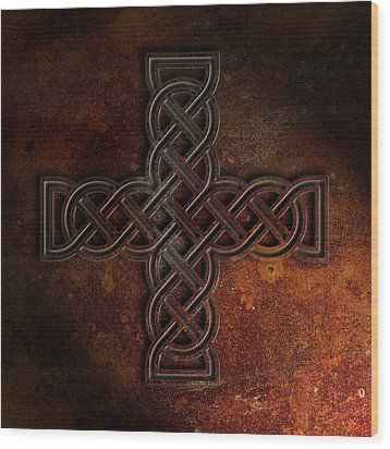 Wood Print featuring the digital art Celtic Knotwork Cross 2 Rust Texture by Brian Carson