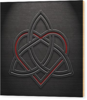 Wood Print featuring the digital art Celtic Knotwork Valentine Heart Leather Texture 1 by Brian Carson