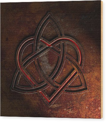 Wood Print featuring the digital art Celtic Knotwork Valentine Heart Rust Texture 1 by Brian Carson