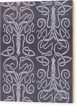 Celtic Plum Kraken Wood Print by CR Leyland