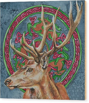 Celtic Stag Wood Print by Beth Clark-McDonal