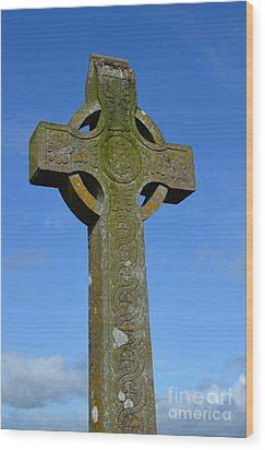 Celtic Stone Cross In Ireland Wood Print by DejaVu Designs