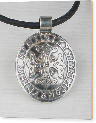 Wood Print featuring the jewelry Celtic Viking Cross Rune Calendar by Vagabond Folk Art - Virginia Vivier
