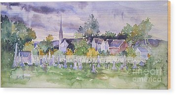 Wood Print featuring the painting Cemetary Watercolor by Sally Simon