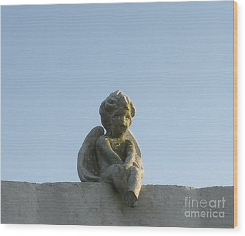 Wood Print featuring the photograph Cemetery Cherub by Joseph Baril