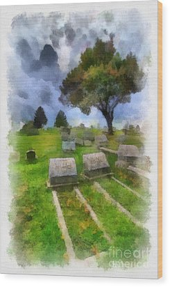 Cemetery Clouds Wood Print by Amy Cicconi