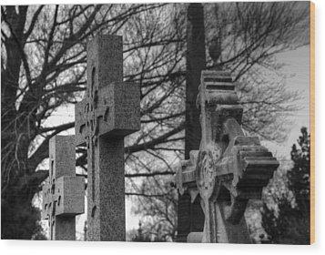 Cemetery Crosses Wood Print by Jennifer Ancker