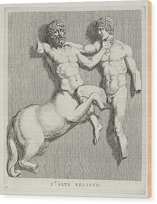Centaur And Man Wood Print by British Library