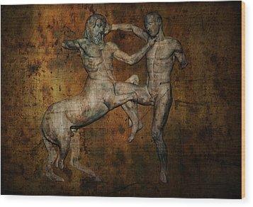 Centaur Vs Lapith Warrior Wood Print by Daniel Hagerman