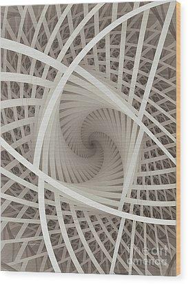 Centered White Spiral-fractal Art Wood Print