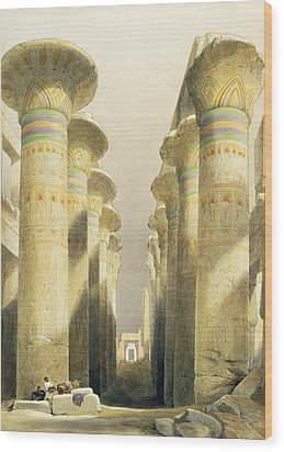 Central Avenue Of The Great Hall Of Columns Wood Print by David Roberts