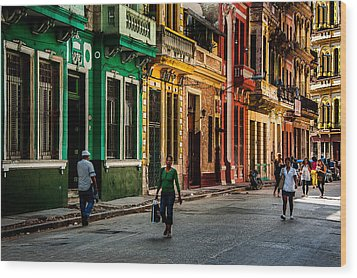 Central Havana Wood Print by Patrick Boening