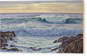Central Pacific Surf Wood Print by Paul Krapf