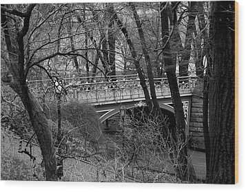Central Park 2 Black And White Wood Print