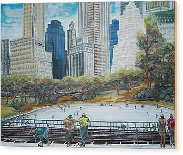 Central Park Ice Rink Wood Print by Mitchell McClenney