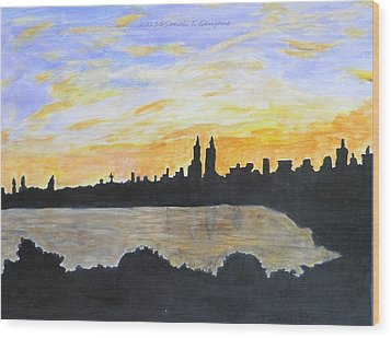 Central Park In Newyork Wood Print by Sonali Gangane