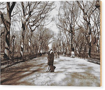 Central Park Kiss Wood Print by John Rizzuto