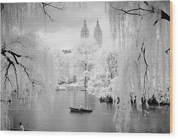 Central Park Lake-infrared Willows Wood Print by Dave Beckerman