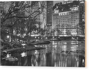 Central Park Lake Night Wood Print by Dave Beckerman