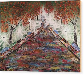 Wood Print featuring the painting Central Park - New York by Michael Rucker
