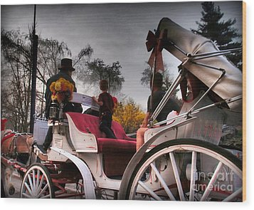 Central Park New York - Romantic Carriage Ride 2 Wood Print by Miriam Danar