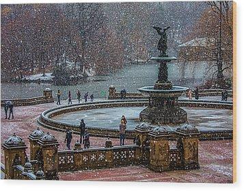 Central Park Snow Storm Wood Print