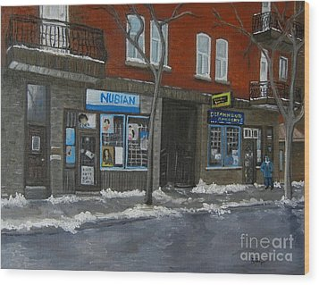 Centre Street Pointe St Charles Wood Print by Reb Frost