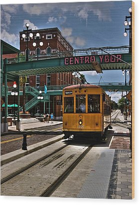 Centro Ybor Stop Wood Print by Kandy Hurley