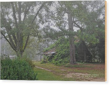 Wood Print featuring the photograph Century-old Shed In The Fog - South Carolina by David Perry Lawrence