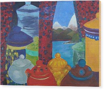 Ceramics View 1 Wood Print by Karen Coggeshall