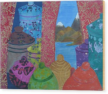 Ceramics View 2 Wood Print by Karen Coggeshall