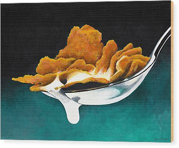 Cereal In Spoon With Milk Wood Print by Janice Dunbar