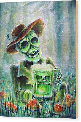 Cerveza Verde Wood Print by Heather Calderon