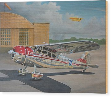 Cessna 195 Wood Print by Stuart Swartz