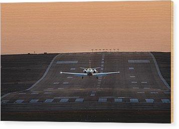 Cessna Citation On Short Final Wood Print by James David Phenicie