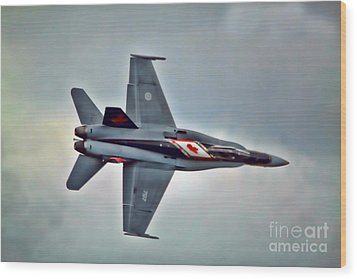 Wood Print featuring the photograph Cf18 Hornet Topview Flying by Cathy  Beharriell