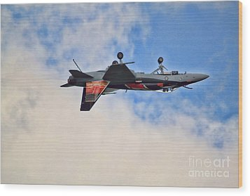 Wood Print featuring the photograph Cf18 Hornet Upside Down Fly By  by Cathy  Beharriell