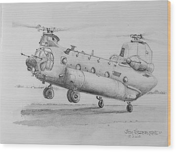 Ch 47 Chinook Helicopter Wood Print