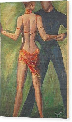 Wood Print featuring the painting Cha Cha Cha by Sheri  Chakamian
